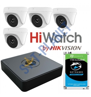 HiWatch 4 High Definition Camera Kit 1080P by Hikvision + 1TB Surveillance HDD