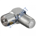 Coaxial Male Plug to F Female Jack Adapter 90 Degree
