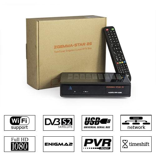 Zgemma Star 2S Satellite Receiver 2xDVB-S2 IPTV LAN Linux Enigma 2